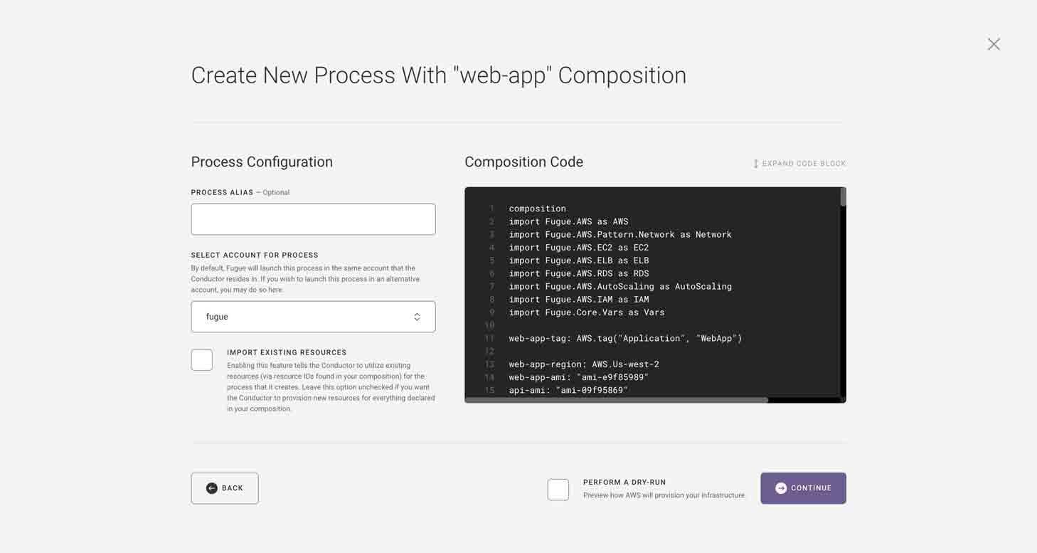 Fugue Console New Process Screen