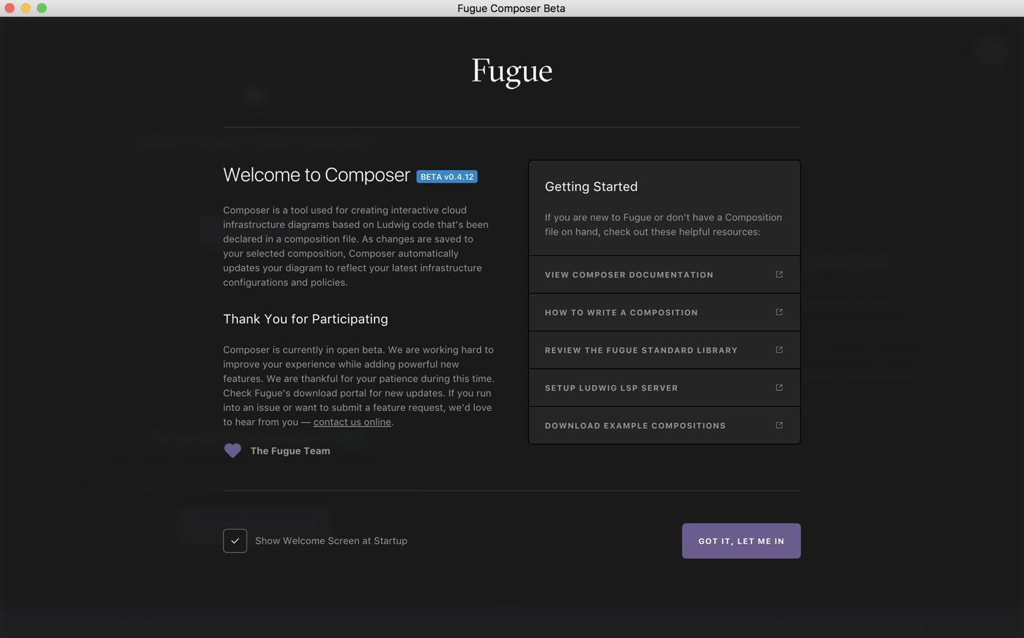Fugue Composer First Time User Screen